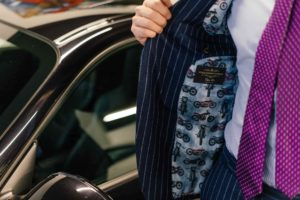 Dalbiondo luxury custom made suit in a striped Super 120's flannel