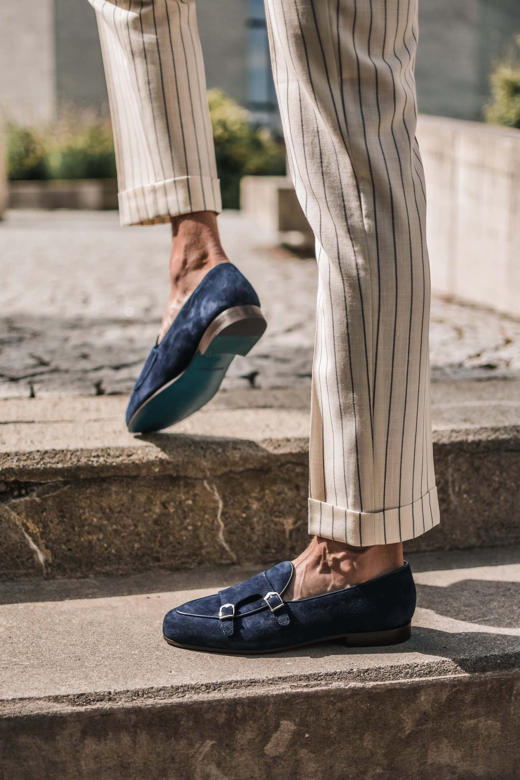 Dalbiondo's handmade double monk loafers, navy blue suede