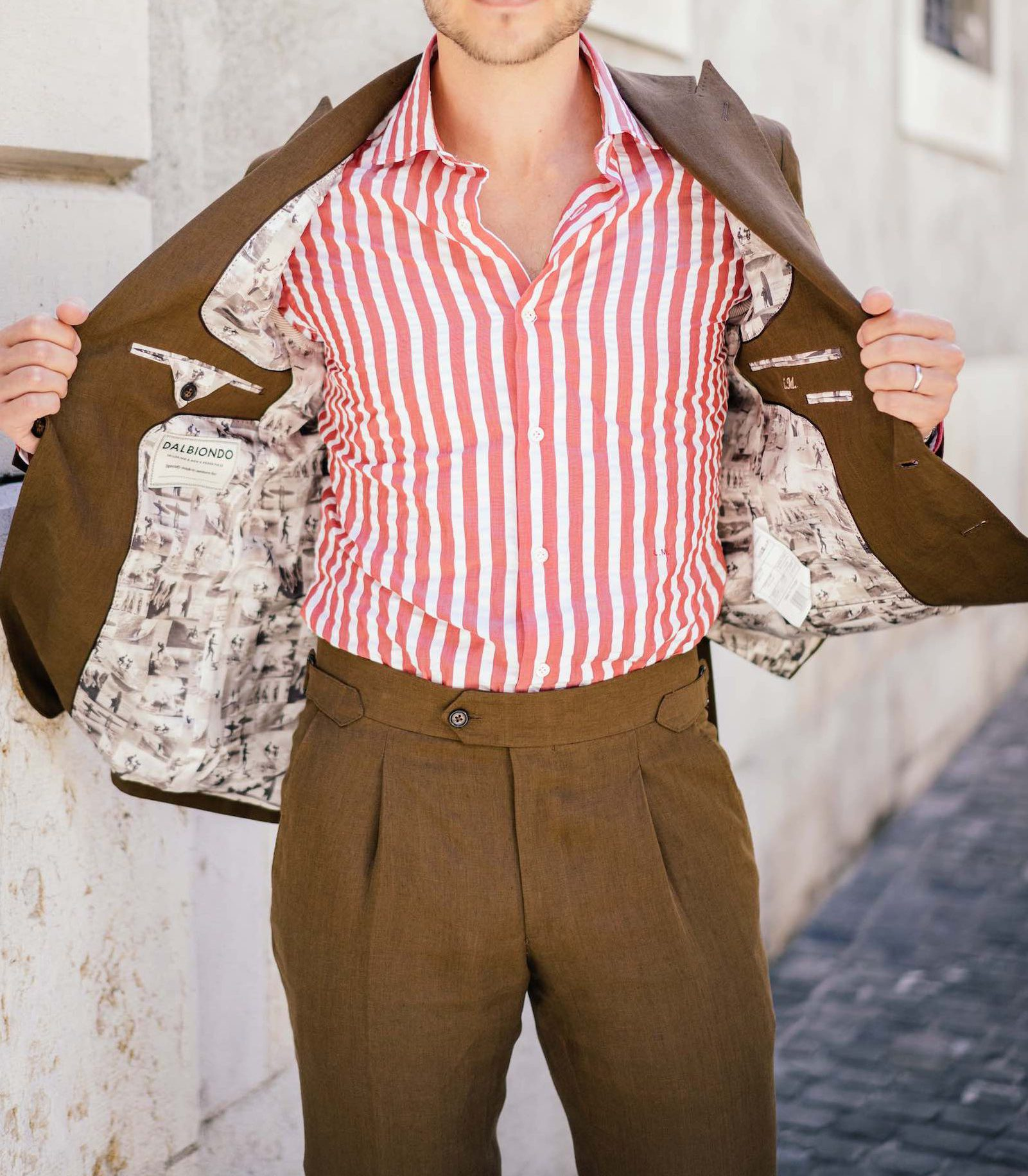 Man with Dalbiondo seersucker shirt and brown linen suit