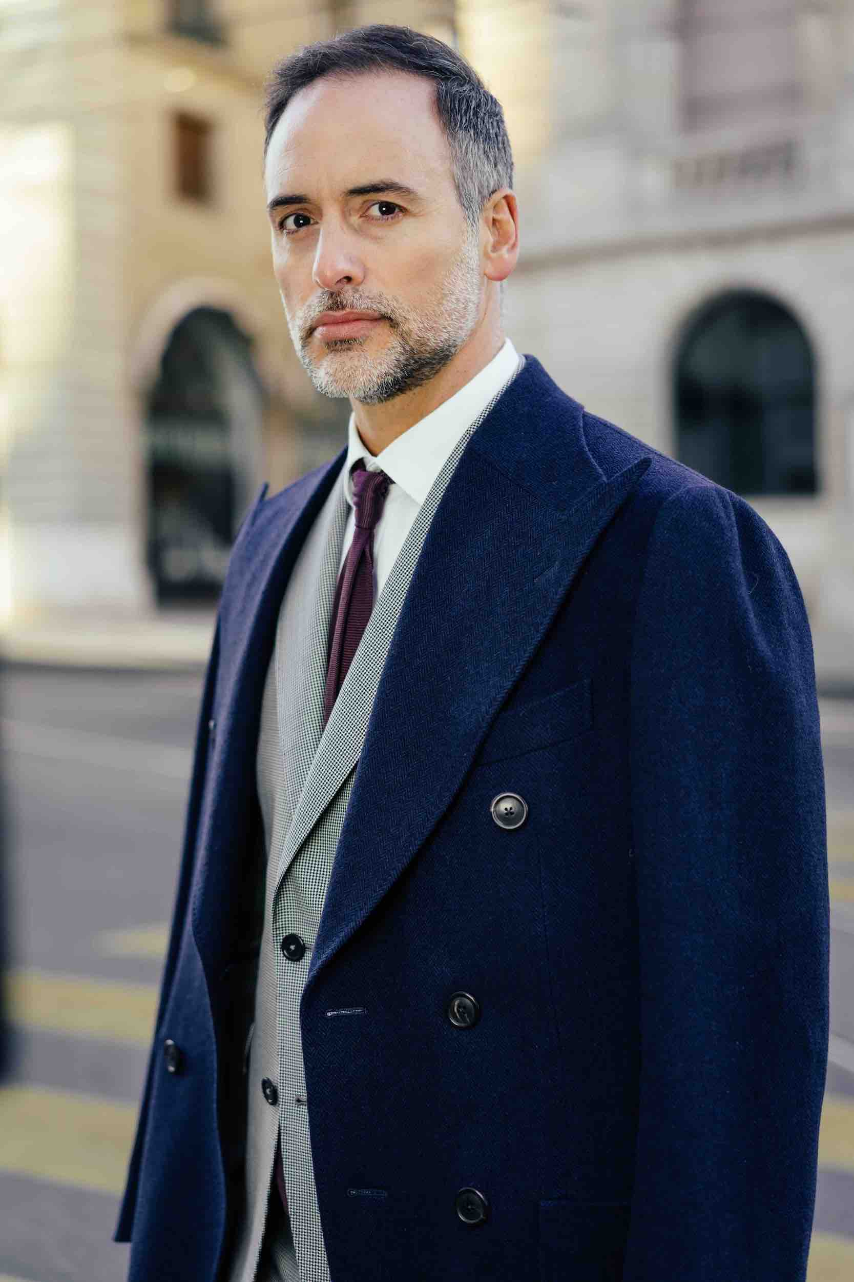 Man with Dalbiondo custom suit and made to measure overcoat